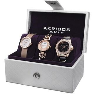 Akribos XXIV Women's Quartz Diamond Dial Rose-Tone Strap/Bracelet Watch Set
