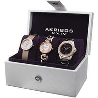 Akribos XXIV Women's Quartz Diamond Dial Rose-Tone Strap/Bracelet Watch Set