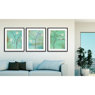 Gallery Direct Laura Gunn's 'Dogwood on Turquoise I', 'II' and 'III' Art Three Piece Set