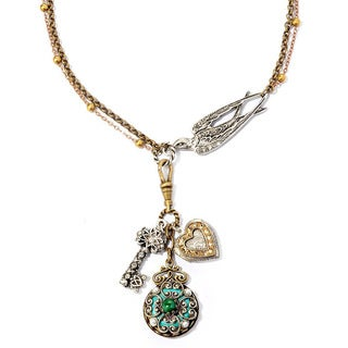 Sweet Romance Victorian Bird and Charms Necklace