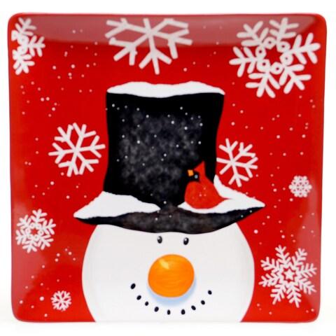 "Certified International Top Hat Snowman Square Platter 14.25"""