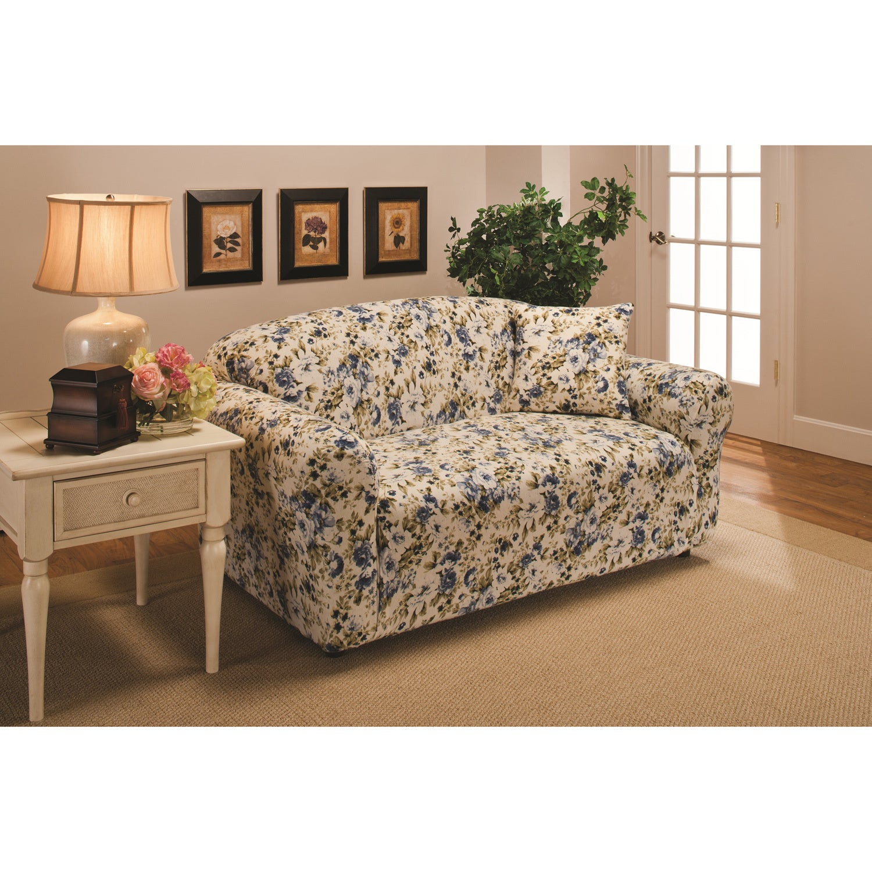 Sanctuary Stretch Jersey Floral Loveseat Slipcover (Blue)