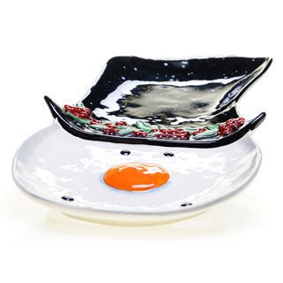 Certified International Top Hat Snowman 3-D Platter