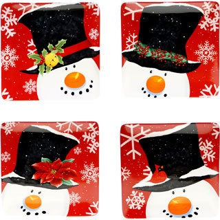 Certified International Top Hat Snowman 8.25-inch Dessert Plates