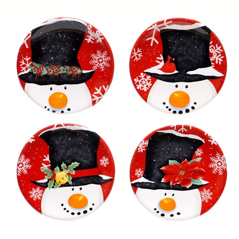 """Certified International Top Hat Snowman 6-inch Canape Plate - 6""""D"""