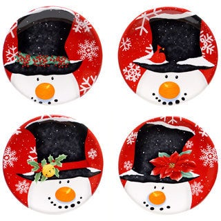 "Certified International Top Hat Snowman 6-inch Canape Plate - 6""D"