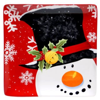 Certified International Top Hat Snowman Square Platter 12.25""