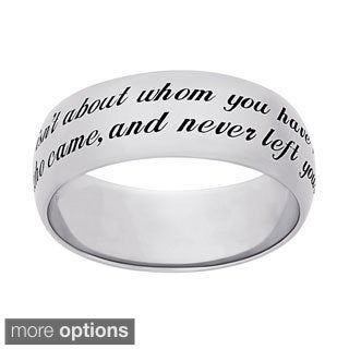 Sweet Sentiments Sterling Silver or Gold Over Sterling Silver 'Friends' Engraved Message Ring (Option: 5)