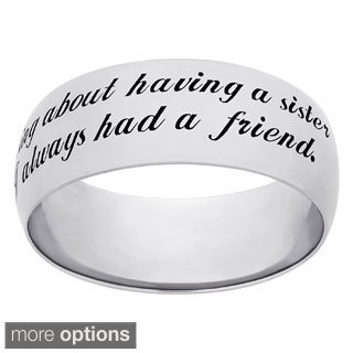 Sweet Sentiments Sterling Silver Or Gold Over Sterling Silver Sisters Engraved Ring