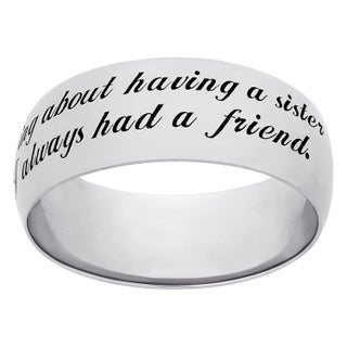 Sweet Sentiments Sterling Silver or Gold Over Sterling Silver 'Sisters' Engraved Ring (More options available)
