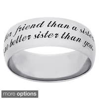 Sweet Sentiments Sterling Silver or Gold Over Sterling Silver Engraved Message 'Sisters' Ring