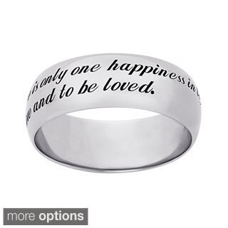 Sweet Sentiments Sterling Silver or Gold Over Sterling Engraved 'Love' Message Ring