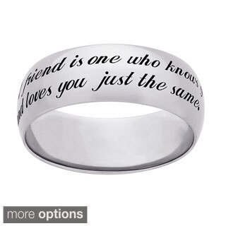 Sweet Sentiments Sterling Silver or Gold over Sterling Silver Engraved 'Friend' Ring