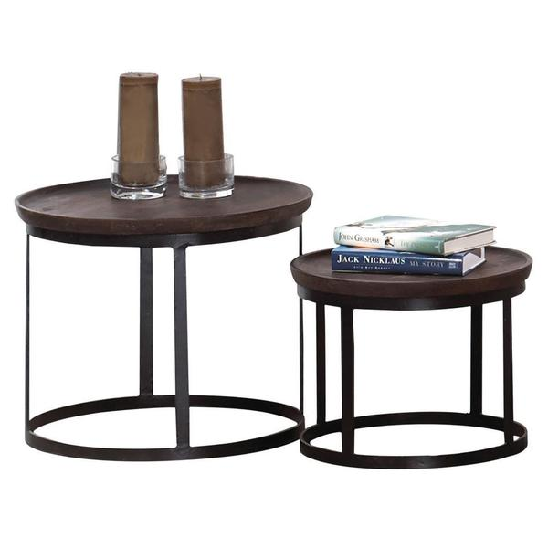 Shop Akar Mango Wood And Wrought Iron Accent Table (set Of 2)   Free  Shipping Today   Overstock   9611035