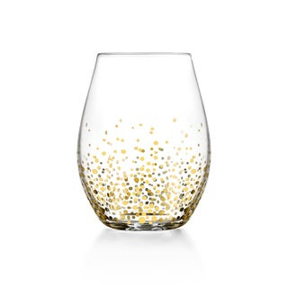 Fitz and Floyd Gold Luster Stemless Glasses