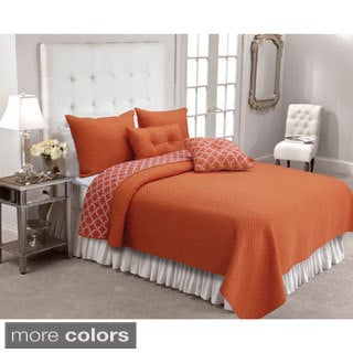 Santorini Diamond Textured Reversible 3-piece Quilt Set