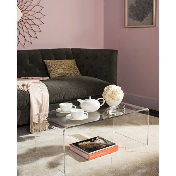 Safavieh atka clear acrylic coffee table free shipping for Overstock acrylic coffee table