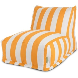 Majestic Home Goods Indoor Outdoor Yellow Vertical Stripe Bean Bag Chair Lounger 36 in L x 27 in W x 24 in H