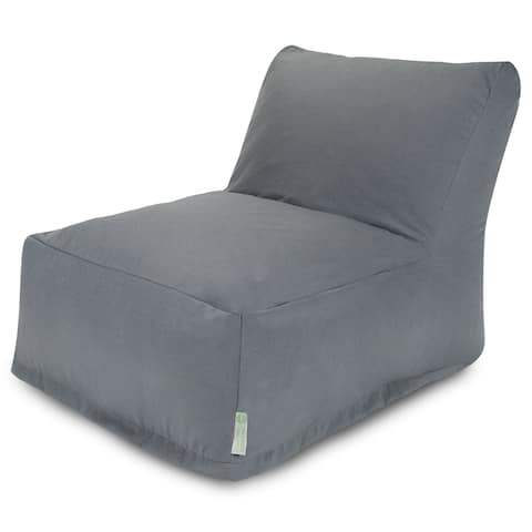 Majestic Home Goods Indoor Outdoor Gray Solid Bean Bag Chair Lounger 36 in L x 27 in W x 24 in H