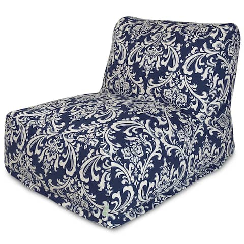 Majestic Home Goods Indoor Outdoor Navy French Quarter Bean Bag Chair Lounger 36 in L x 27 in W x 24 in H