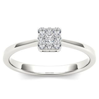 De Couer 10k White Gold 1/6ct TDW Diamond Cluster Fashion Ring (H-I, I1-I2)
