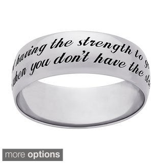 Sweet Sentiments Sterling Silver Courage Engraved Message Ring