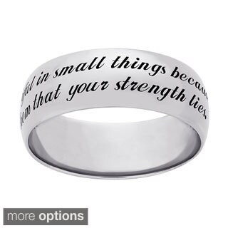 Sweet Sentiments Sterling Silver Strength Engraved Message Ring