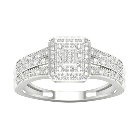 De Couer 10k Gold 1/6ct TDW Diamond Cluster Engagement Ring