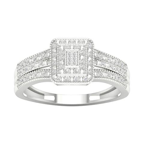 De Couer IGI Certified 10k Gold 1/6ct TDW Diamond Cluster Engagement Ring