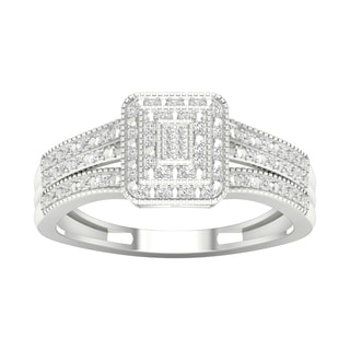 De Couer 10k White Gold 1/6ct TDW Diamond Cluster Engagement Ring (H-I, I2)