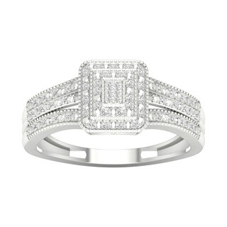 De Couer 10k Gold 1/6ct TDW Diamond Cluster Engagement Ring