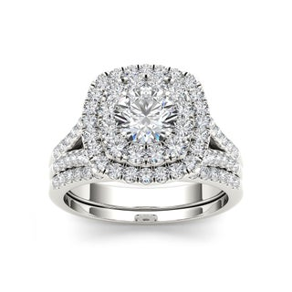 De Couer 14k Gold 2ct TDW White Diamond Halo Bridal Set (More options available)