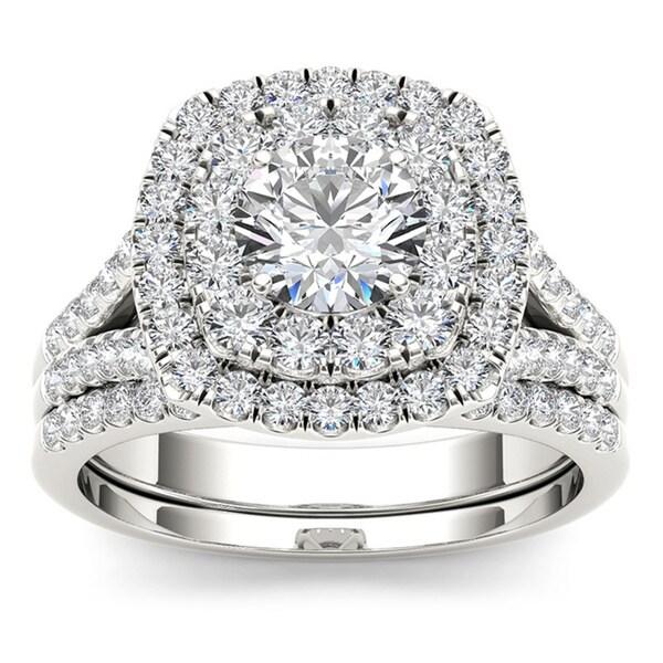 De Couer 14k Gold IGI Certified 2ct TDW White Diamond Double Halo Bridal Set