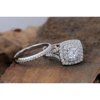 De Couer 14K Gold Diamond Halo Engagement Ring 2ct tw with 0.75ct Center stone with matching band