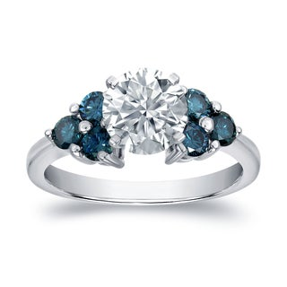 Auriya 14k White Gold 1 1/3ct TDW Certified Blue and White Diamond Ring