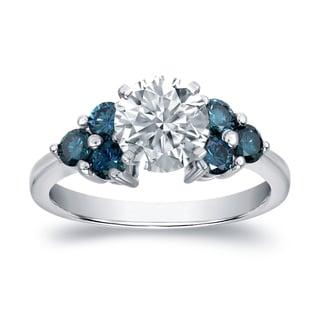 Auriya 14k White Gold 1 1/3ct TDW Certified Blue and White Diamond Ring