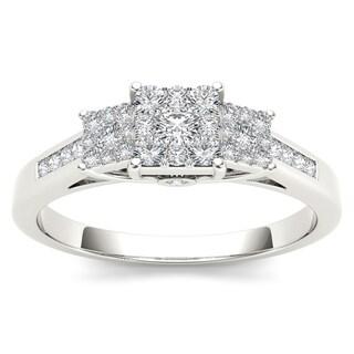 De Couer 10k White Gold 1/3ct TDW Diamond Three-stone Ring