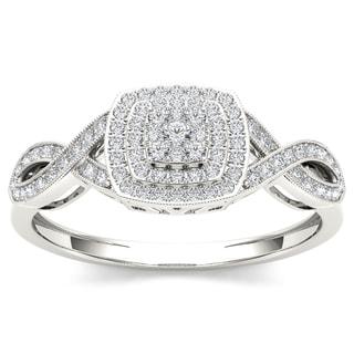 De Couer 10k White Gold 1/4ct TDW Diamond Criss-Cross Engagement Ring (H-I, I2)