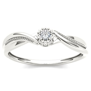 De Couer 10k White Gold 1/20ct TDW Diamond Twisted Shank Ring