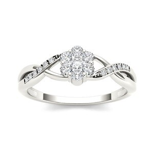 De Couer 10k White Gold 1/4ct TDW Diamond Promise Ring (H-I, I2)