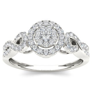 De Couer 10k White Gold 2/5ct TDW Diamond Composite Engagement Ring