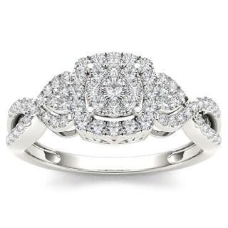 De Couer 10k White Gold 1/2ct TDW Diamond Composite Engagement Ring