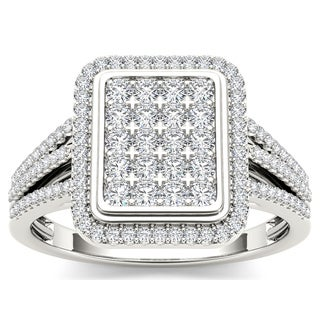 De Couer 10k White Gold 1/2ct TDW Diamond Composite Ring