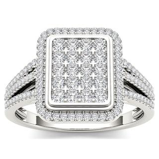 De Couer 10k White Gold 1/2ct TDW Diamond Composite Ring