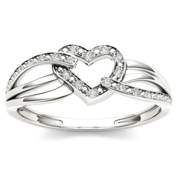 88745fe87c1 Shop De Couer IGI Certified Sterling Silver 1/20ct TDW Diamond Heart ...