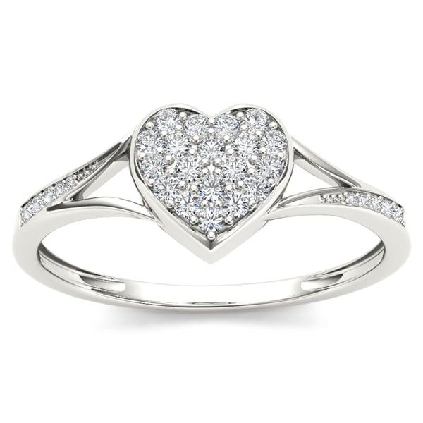 De Couer 10k White Gold 1/6ct TDW Diamond Heart Shape Split Shank Fashion Ring
