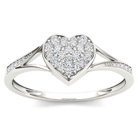 De Couer IGI Certified 10k White Gold 1/6ct TDW Diamond Heart Shape Split Shank Fashion Ring