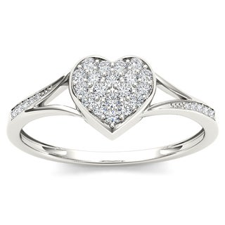 De Couer 10k White Gold 1/6ct TDW Diamond Heart Shape Split Shank Fashion Ring (H-I, I1-I2)