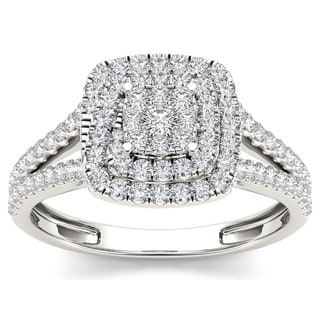 De Couer 10k White Gold 1/2ct TDW Diamond Double Halo Engagement Ring (H-I, I1-I2)