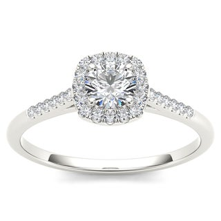 De Couer 10k White Gold 1/2ct TDW Diamond Engagement Ring (H-I, I1-I2)